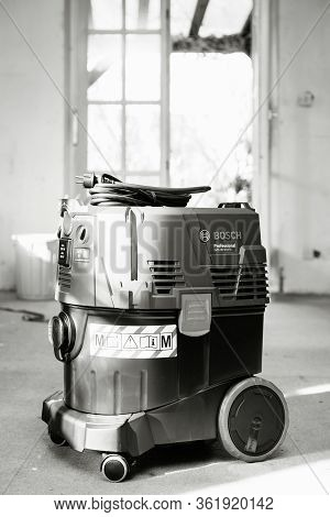 Strasbourg, France - Feb 9, 2020: Black And White Front View Of Bosch Professional Gas 35 M Class Af