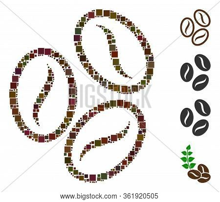 Collage Cacao Beans Icon Composed Of Square Elements In Various Sizes And Color Hues. Vector Square