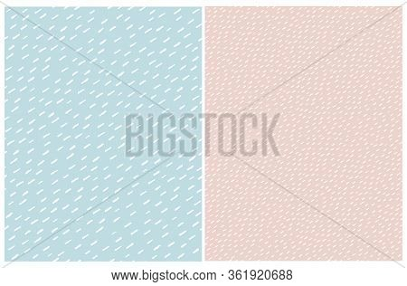 Cute Abstract Spots Vector Patterns. White Irregular Brush Lines On A Pale Blue And Blush Pink Backg
