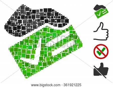 Mosaic Vote Yes Icon Designed From Square Items In Different Sizes And Color Hues. Vector Square Ite