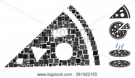 Mosaic Pizza Piece Icon United From Square Items In Various Sizes And Color Hues. Vector Square Item