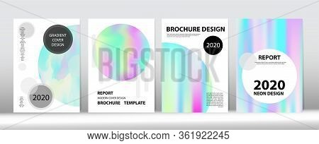 Holographic Gradient Vector Background. Hologram Minimal Light Covers Set. Fluid Holo Bright Trendy