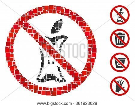 Collage Do Not Litter Icon Constructed From Square Elements In Random Sizes And Color Hues. Vector S
