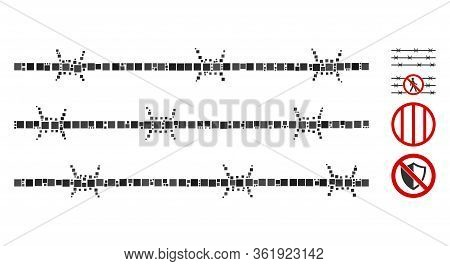 Mosaic Barbwire Fence Icon Designed From Square Items In Variable Sizes And Color Hues. Vector Squar