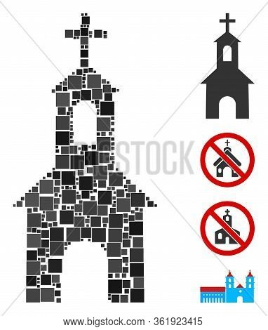 Mosaic Catholic Kirch Icon United From Square Items In Variable Sizes And Color Hues. Vector Square