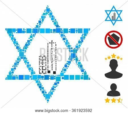 Mosaic Jerusalem Star Icon Composed Of Square Elements In Different Sizes And Color Hues. Vector Squ