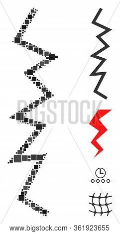 Collage Zigzag Line Icon Composed Of Square Elements In Random Sizes And Color Hues. Vector Square E