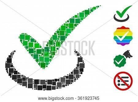 Collage True Icon United From Square Items In Different Sizes And Color Hues. Vector Square Items Ar