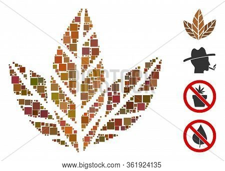 Collage Tobacco Leaves Icon Composed Of Square Items In Different Sizes And Color Hues. Vector Squar