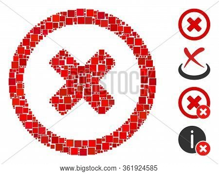 Mosaic Wrong Icon United From Square Items In Variable Sizes And Color Hues. Vector Square Items Are