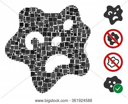 Mosaic Amoeba Icon Composed Of Square Items In Random Sizes And Color Hues. Vector Square Items Are