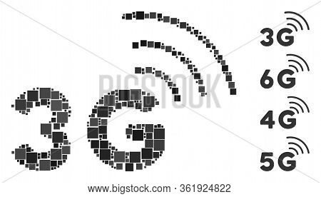 Collage 3g Icon Designed From Square Items In Various Sizes And Color Hues. Vector Square Items Are