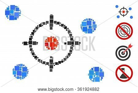 Mosaic Selective Icon Constructed From Square Elements In Variable Sizes And Color Hues. Vector Squa