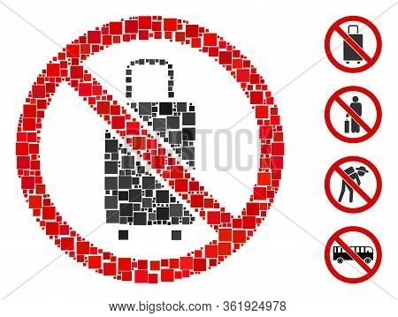 Mosaic No Baggage Icon Organized From Square Items In Variable Sizes And Color Hues. Vector Square I