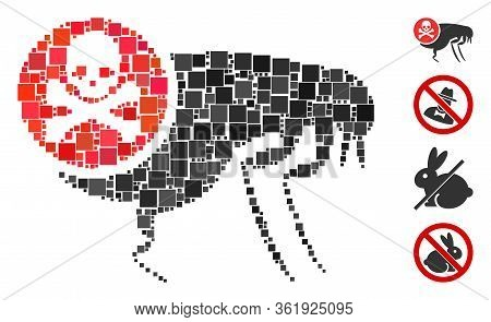 Collage Flea Pesticide Icon Designed From Square Items In Variable Sizes And Color Hues. Vector Squa