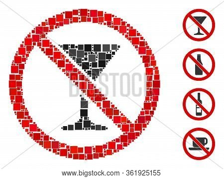 Collage No Martini Glass Icon United From Square Items In Variable Sizes And Color Hues. Vector Squa