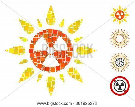 Mosaic Atomic Radiation Icon Organized From Square Elements In Various Sizes And Color Hues. Vector