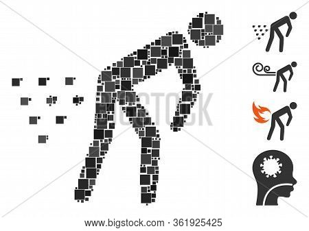 Mosaic Man Diarrhea Icon Composed Of Square Elements In Random Sizes And Color Hues. Vector Square E