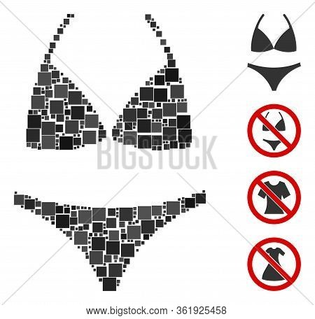 Mosaic Bikini Icon Organized From Square Elements In Various Sizes And Color Hues. Vector Square Ite