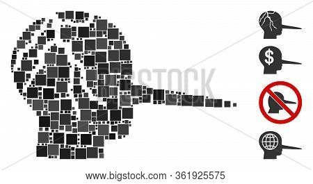 Collage Corrupted Liar Icon United From Square Items In Different Sizes And Color Hues. Vector Squar