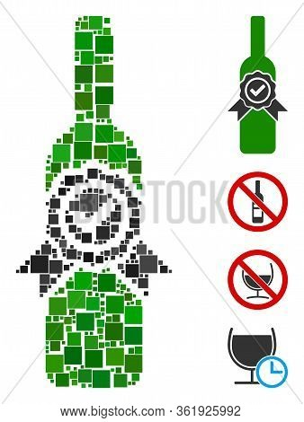 Collage Finest Wine Icon Designed From Square Items In Different Sizes And Color Hues. Vector Square