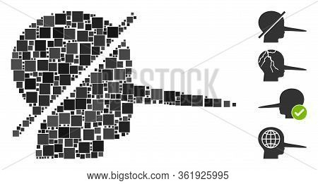 Collage No Liars Icon United From Square Items In Different Sizes And Color Hues. Vector Square Item