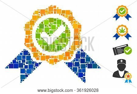 Mosaic Official Icon Organized From Square Elements In Random Sizes And Color Hues. Vector Square El