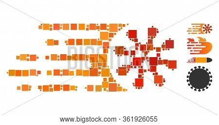 Mosaic Gone Viral Icon Constructed From Square Items In Different Sizes And Color Hues. Vector Squar