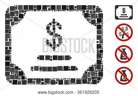 Collage Financial Bond Icon Organized From Square Items In Various Sizes And Color Hues. Vector Squa