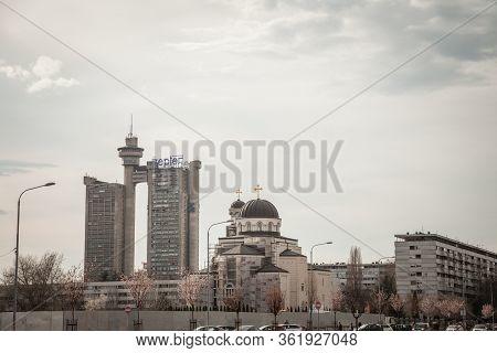 Belgrade, Serbia - March 30, 2018: Skyline Of Novi Beograd With The Western Gate, Also Called Zapadn