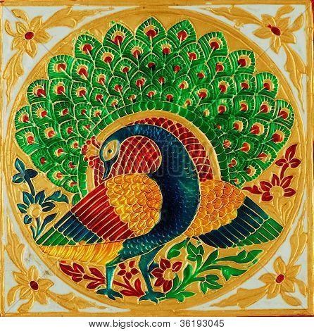 Close up of a beautiful peacock design.