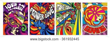 Set Of Four Bright Psychedelic Love Themed Posters With Modern Abstract Patterns And Assorted Text,