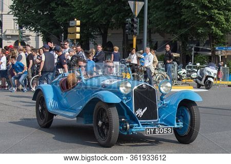 Brescia, Italy - May 19 2018: Alfa Romeo 8c 2300 Spider Touri Ng 1931 Is An Old Racing Car In Rally