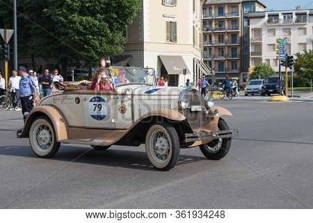 Brescia, Italy - May 19 2018: Ford A 1931 Is An Old Racing Car In Rally Mille Miglia 2018, Live Shot