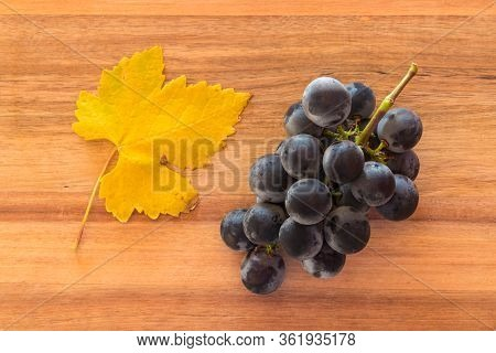 Bunch Of Ripe Merlot Grapes With Yellow Leaf On Wooden Chopping Board