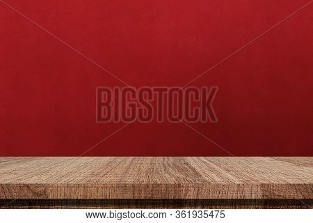 Wood Table And Red Cement Wall Background In Kitchen, Wooden Shelf, Counter For Food And Product Dis