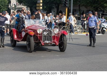 Brescia, Italy - May 19 2018: Alfa Romeo 6c 1750 Gran Sport Carroz. Sport 1930 Is An Old Racing Car