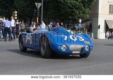 Brescia, Italy - May 19 2018: Db Citroan Barquette 1945 Is An Old Racing Car In Rally Mille Miglia 2