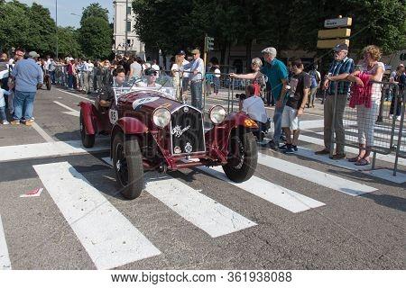 Brescia, Italy - May 19 2018: Alfa Romeo 6c 1500 Gran Sport Testa Fissa 1933 Is An Old Racing Car In
