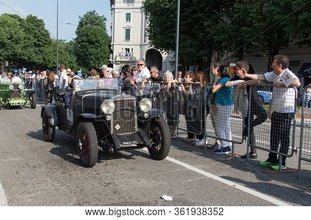 Brescia, Italy - May 19 2018: Fiat 514 S 1930 Is An Old Racing Car In Rally Mille Miglia 2018, Live