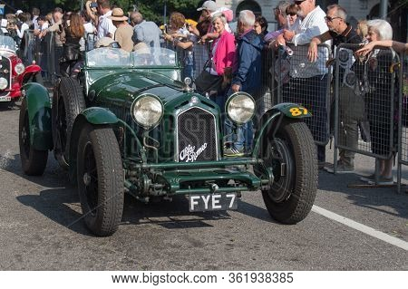 Brescia, Italy - May 19 2018: Alfa Romeo 8c 2300 Monza 1933 Is An Old Racing Car In Rally Mille Migl