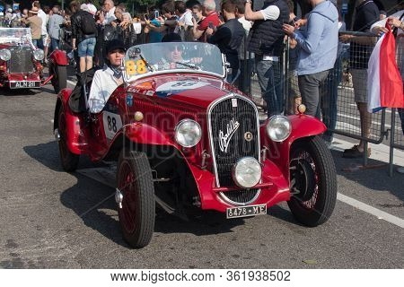 Brescia, Italy - May 19 2018: Fiat 508 S Balilla Sport Coppa Oro 1934 Is An Old Racing Car In Rally