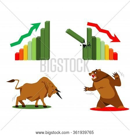 Stock Exchange, Business Vector Logo Design Template. Money, Bull And Bear Icon. Flat Illustration.