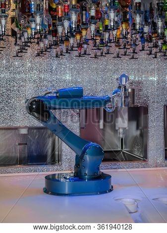 Robotic Bartender Pouring A Drink, Bionic Bartender