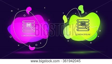 Line Search In A Browser Window Icon Isolated On Black Background. Abstract Banner With Liquid Shape