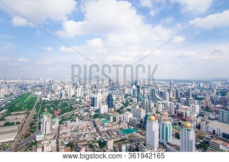 Cityscape And Transportation With Expressway And Traffic In Daytime From Skyscraper Of Bangkok. Bang