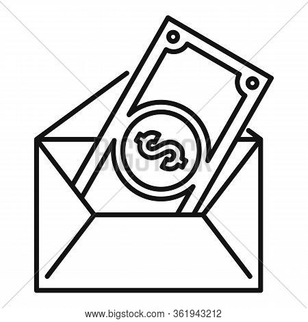 Money Mail Transfer Icon. Outline Money Mail Transfer Vector Icon For Web Design Isolated On White B