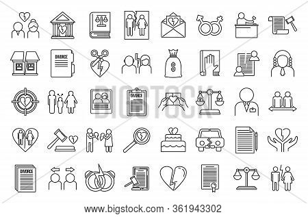 Divorce Separation Icons Set. Outline Set Of Divorce Separation Vector Icons For Web Design Isolated