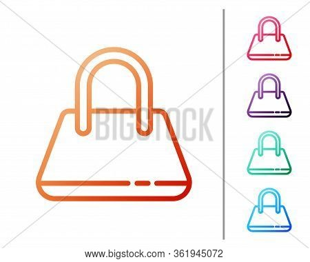 Red Line Handbag Icon Isolated On White Background. Female Handbag Sign. Glamour Casual Baggage Symb