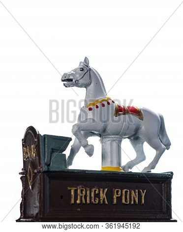 Vintage, All Metal, Hand Painted Trick Pony Coin Bank, Isolated On White